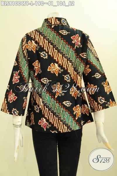 Model Baju Batik Elegan Dan Berkelas, Produk Baju Batik Blus Solo Motif Klasik Krah Lancip Proses Cap Tulis, Istimewa Buat Seragam Kerja [BLS8100CT-L]