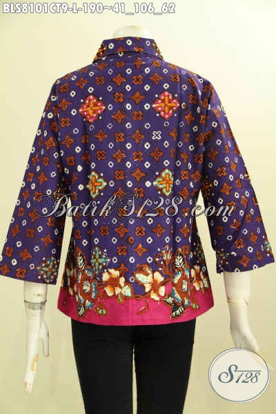 Model Baju Batik Blus Keren ELegan Berkelas, Busana Batik Kerja Nan Istimewa, Cocok Juga Untuk Acara Formal, Size L