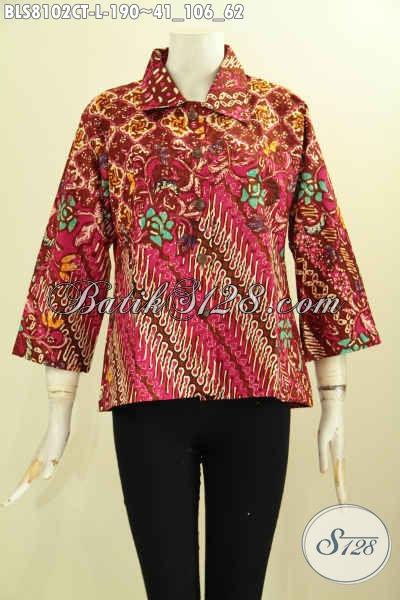Model Baju Batik Elegan Dan Mewah, Blus Batik Solo Krah Lancip Motif Klasik Warna Merah Proses Cap Tulis, Size L