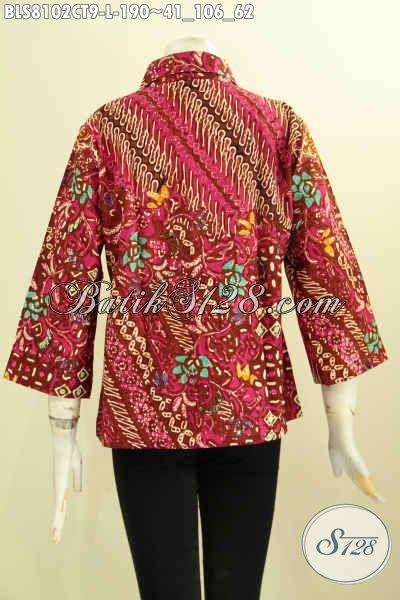 Model Baju Batik Kombinasi Dual Motif, Pakaian Batik Blus Istimewa Proses Cap Tulis Dengan Krah Lancip, Penampilan Makin Sempurna [BLS8102CT-L]
