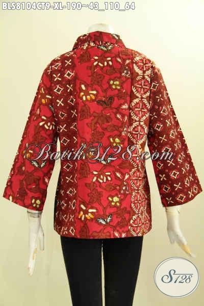 Model Baju Batik Wanita Kwalitas Premium, Busana Batik Krah Lancip Size XL Proses Cap Tulis Motif Mewah Harga 190K, Size XL