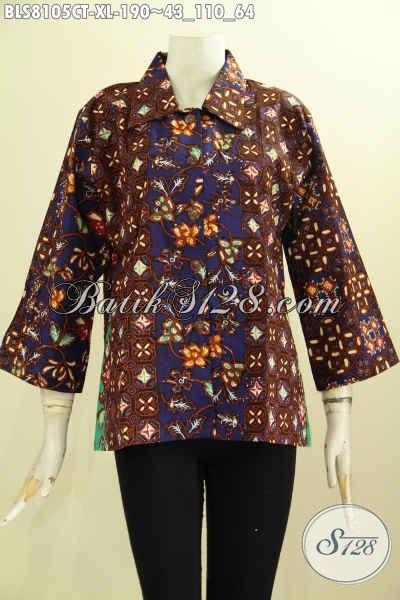 Model Baju Batik Wanita Terkini, Blus Batik Mewah Halus Proses Cap Tulis Untuk Kerja Dan Acara Resmi, Size XL