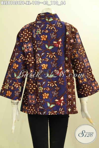 Model Baju Batik Wanita Dewasa, Desain Pakaian Kerja Cewek Kantoran Dengan Krah Lancip Motif Bagus Cap Tulis Harga Di Bawah 200 Ribuan, Size XL