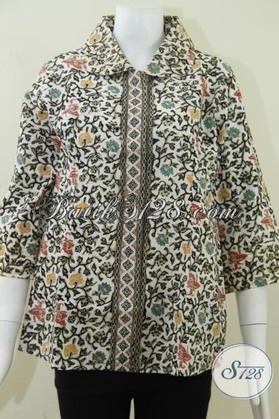Busana Batik Cap Kombinasi Tulis Canting,Baju Batik Wanita Motif Bunga Colet Warna [BLS810CT-M]