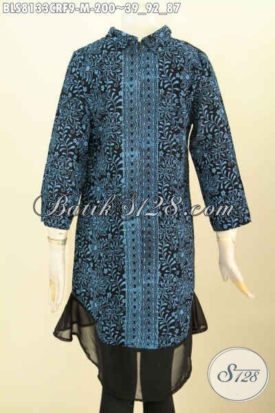 Toko Batik Deket Sini Sedia Pakaian Batik Wanita Modis Dan Modern, Blus Batik Krah Shanghai Bahan Paris Mewah Full Furing, Pas Baut Pesta [BLS8133CRF-M]