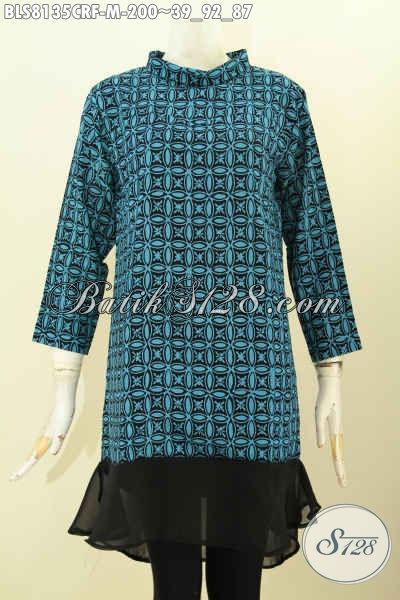 Toko Batik Deket Sini Jual Produk Pakaian Wanita Desain Istimewa Krah Shanghai Bahan Paris, Blus Batik Warna Hijau Full Furing Mewah Harga 200K [BLS8135CRF-M]