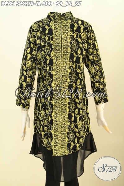 Model Baju Batik Wanita Terbaru, Pakaian Batik Jawa Tengah Krah Shanghai Bahan Paris Dengan Furing Katun Di Jual Online 200K [BLS8139CRF-M]