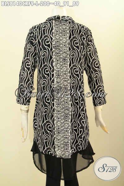 Model Baju Batik Wanita Untuk Kerja Dan Pesta, Blus Krah Shanghai Halus Bahan Paris Dengan Daleman Katun Kwalitas Istimewa Harga Biasa [BLS8140CRF-L]