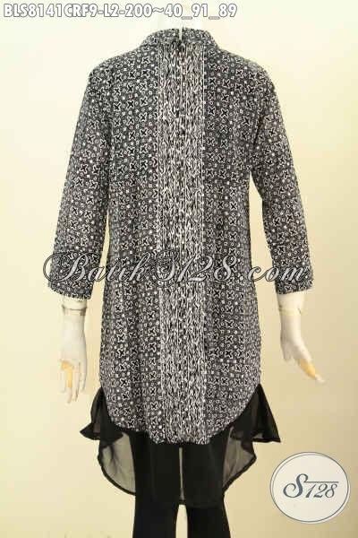 Model Baju Batik Cewek Terkini, Busana Batik Solo Modis Krah Shanghai Full Furing, Cocok Untuk Kerja Maupun Ke Pesta Harga 200 Ribu [BLS8141CRF-L]