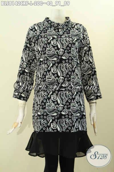 Model Baju Batik Kerja Wanita Karir Untuk Tampil Mempesona, Hadir Dengan Krah Shanghai Modis Bahan Paris Di Lengkapi Furing Katun Hanya 200K [BLS8142CRF-L]