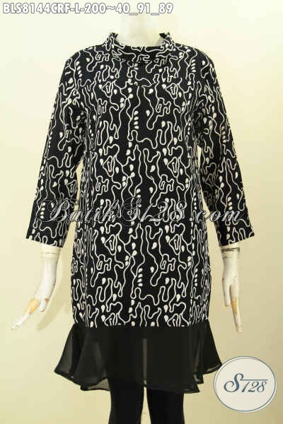 Model Baju Batik Wanita Untuk Tampil Cantik Mempesona, Blus Batik Solo Halus Full Furing Krah Shanghai Motif Proses Cap, Di Jual Online 2000K, Size L