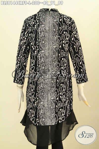 Model Baju Batik Terkini, Produk Busana Wanita Nan Elegan Bahan Paris Desain Krah Shanghai Daleman Full Furing, Tampil Mewah Berkelas [BLS8144CRF-L]