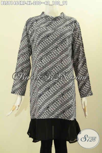 Model Baju Batik Solo Elegan Terbaru, Pakaian Batik Modis Krah Shanghai Bahan Paris Daleman Pakai Furing Lebih Mewah Dan Berkelas [BLS8146CRF-XL]