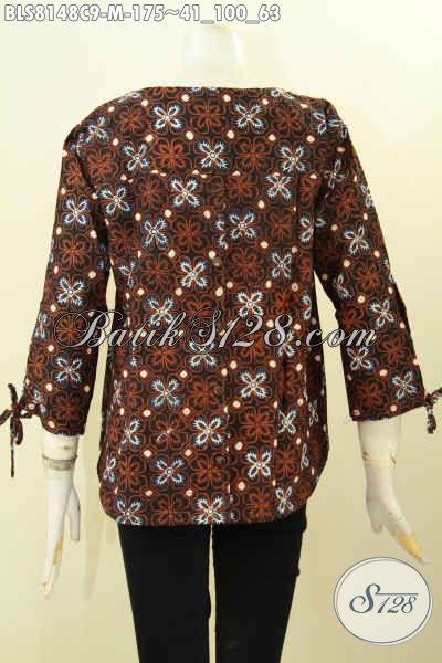 Model Baju Batik Wanita Terkini, Blus Kerja Kwalitas Istimewa Bahan Adem Desain Kancing Belakang Dan Tanpa Krah Harga 175K [BLS8148C-M]
