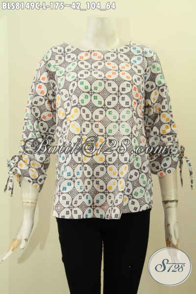 Model Baju Batik Wanita Terbaru Dengan Lengan Bertali Dan Berlubang Di Ujung, Blus Tanpa Krah Motif Keren Proses Cap Hanya 100 Ribuan [BLS8149C-L]