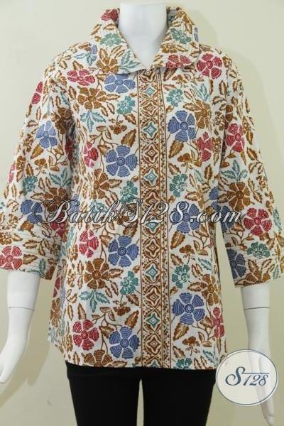 Baju Batik Wanita Motif Bunga Bunga Warna Coklat Bls814cd