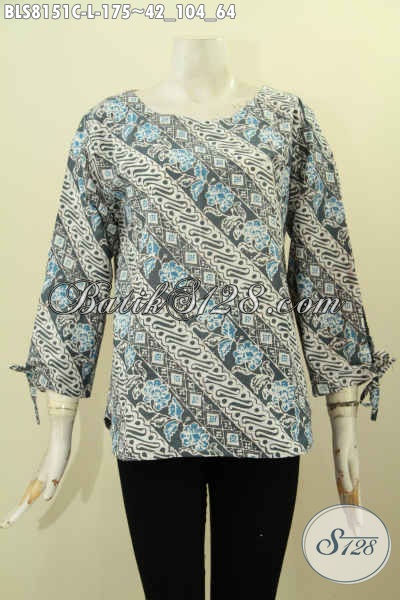 Model Baju Batik Elegan, Pakaian Batik Wanita Berkelas Proses Cap Dengan Motif Klasik, Penampilan Cantik Dan Anggun, Size L