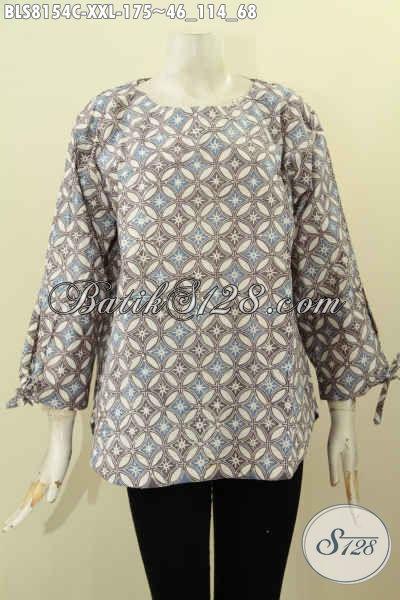 Model Baju Batik Solo Terbaru 2017, Blus Tanpa Krah Motif Elegan Proses Cap Bahan Adem Nyaman Untuk Kerja, Size XL