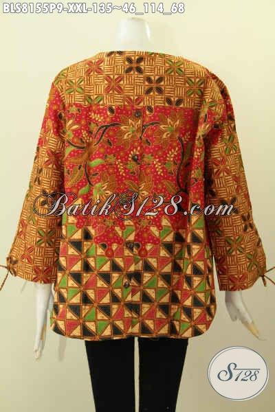 Model Baju Batik Wanita Gemuk, Blus Tanpa Krah Motif Keren Dan Modis Dengan Kancing Belakang, Cocok Untuk Kerja Dan Jalan-Jalan, Size XXL