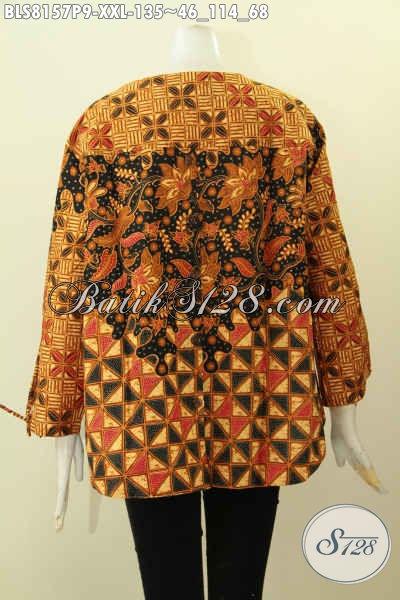 Model Baju Batik Etnik Untuk Wanita Dengan Desain Modern Tanpa Krah Lengan Berpita Serta Pakai Kancing Belakang Hanya 100 Ribuan, Spesial Buat Wanita Gemuk  [BLS8157P-XXL]