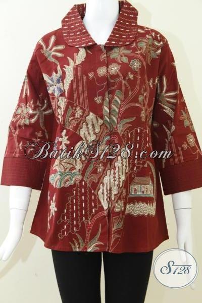 Baju Batik Tulis Kontemporer Untuk Wanita,Blus Batik Warna Merah Elegan [BLS817T-L]