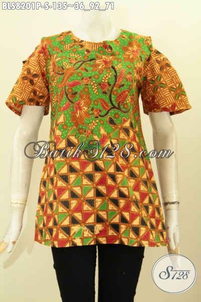 Model Baju Batik Solo 2018, Blus Batik Keren Kancing Belakang Dengan Lengan Lobang Penampilan Makin Mempesona, Size S