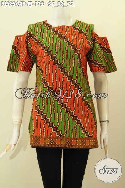 Model Baju Batik Wanita Untuk Kerja Dan Ke Pesta, Batik Blus Halus Kwalitas Istimewa Model Kekinian Bahan Adem Pakai Kancing Belakang Dan Lengan Lobang Harga 100 Ribuan, Size M
