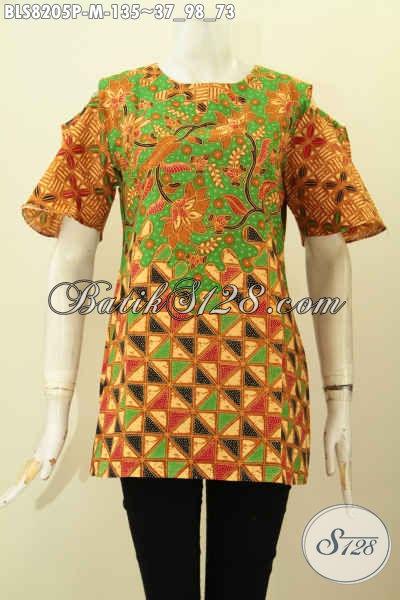 Model Baju Batik Wanita Untuk Tampil Gaya, Blus Modern Klasik Bahan Halus Proses Printing Motif Trendy Di Jual Online 135 Ribu [BLS8205P-M]