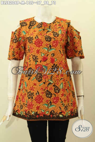 Model Baju Batik Blus Solo Istimewa, Pakaian Batik Jawa Tengah Dengan Lengan Lobang Kancing Belakang, Bahan Adem Motif Terbaru Proses Printing Harga 100 Ribuan Saja, Size M