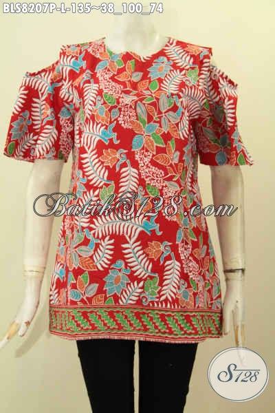Model Baju Batik Blus Trendy Warna Merah, Pakaian Batik Keren Pakai Kancing Belakang Dan Lengan Lobang, Penampilan Lebih Kekinian, Size L