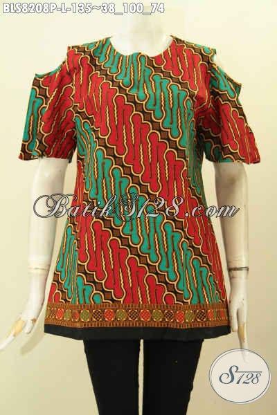 Model Baju Batik Elegan Dan Modis, Blus Tanpa Krah Dengan Legan Lobang Motif Parang Proses Printing Di Lengkapi Kancing Belakang Hanya 135K [BLS8208P-L]