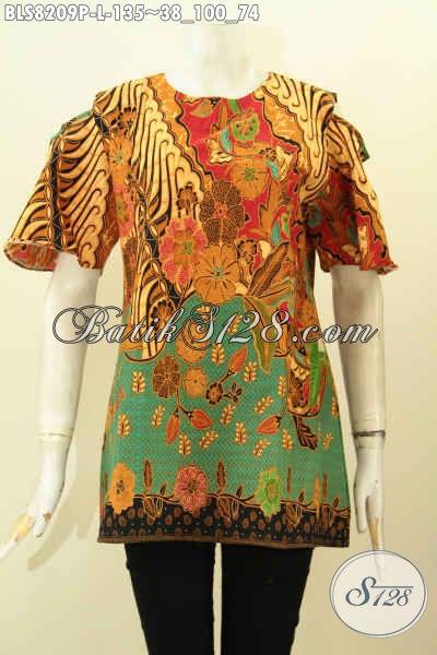Model Baju Batik Kwalitas Bagus, Pakaian Batik Wanita Masa Kini, Hadir Dengan Bahan Halus Desain Lengan Lobang Dan Kancing Belakang, Cocok Juga Buat Ngantor, Size L