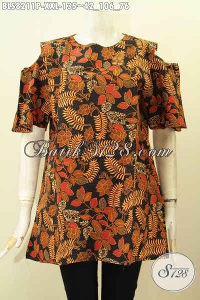 Model Baju Batik Kerja Wanita Karir Terbaru, Hadir Dengan Lengan Lobang Kancing Belakang Ukuran Jumbo, Spesial Untuk Wanita Gemuk Hanya 135K [BLS8211P-XXL]
