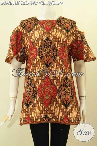 Model Baju Batik Cewek Gemuk, Blus Lengan Lobang Kancing Belakang, Modis Untuk Kerja Dan Acara Resmi  Motif Klasik Printing Hanya 100 Ribuan, Size XXL