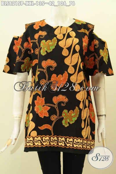 Model Baju Batik Perempuan Terkini, Blus Tanpa Krah Dengan Lengan Lobang Di Lengkapi Kancing Belakang, Spesial Untuk Wanita Gemuk Tampil Beda [BLS8215P-XXL]