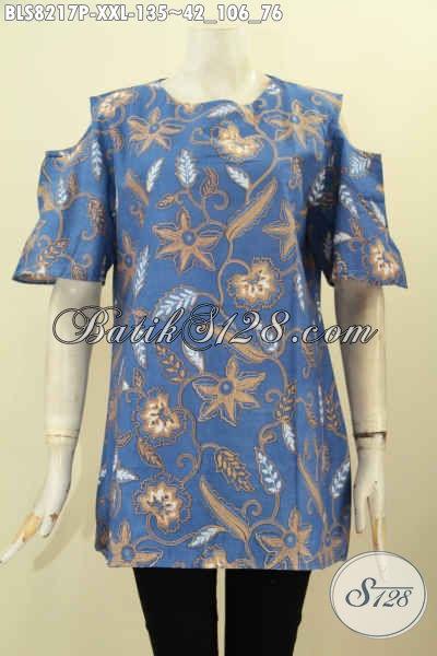 Model Pakaian Batik Wanita Gemuk Terbaru 2018, Blus Batik Lengan Lobang Dengan Kancing Belakang, Tampil Cantik Dan Gaya, Size XXL