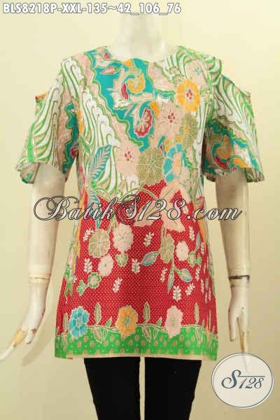 Batik Blus Solo Tren Masa Kini, Busana Batik Jawa Tengah Kekinian Untuk Wanita Modern Ukuran XXL, Bahan Halus Proses Printing Hanya 135 Ribu