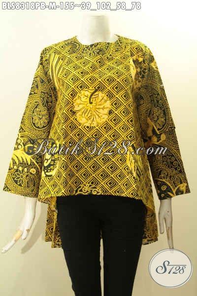 Model Baju Batik Wanita Panjang Depan Lebih Pendek Dari Belakang Desain Lengan Tumpuk Pakai Kancing Belakang, Tampil Lebih Bergaya, Size M
