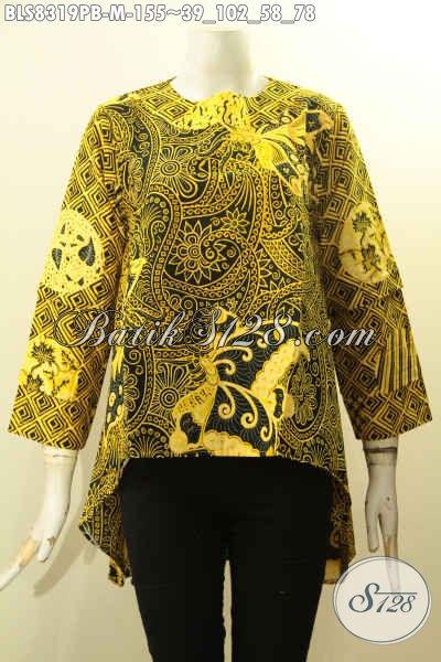Baju Batik Warna Kuning, Blus Batik Wanita Untuk Tampil Modis Cocok Buat Kerja Dan Jalan-Jalan Bahan Adem Model Depan Lebih Pendek Dari Belakang Hanya 155K, Size M