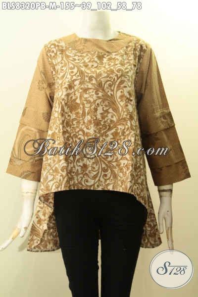Batik Blus Keren Dengan Kancing Belakang Desain Bagian Belakang Lebih Panjang Dari Depan Berpadu Lengan Tumpuk, Tampil Anggun Mempesona, Size M