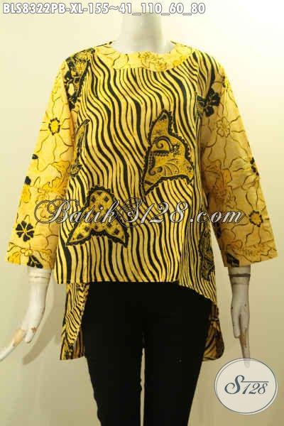 Model Baju Batik Solo Koleksi 2018, Hadir Dengan Lengan Tumpuk Dan Kancing Belakang, Pakaian Batik Berkelas Untuk Santai Dan Resmi, Size XL