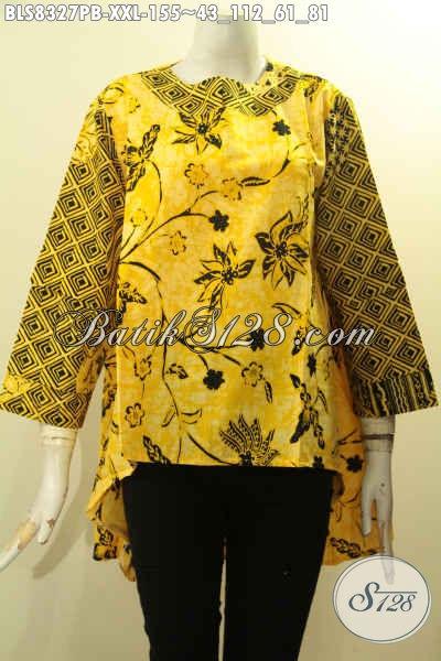 Busana Batik Perempuan Gemuk, Blus Batik Jumbo Bagian Depan Lebih Pendek Dari Belakang Untuk Seragam Kerja Tampil Menawan, Size XXL