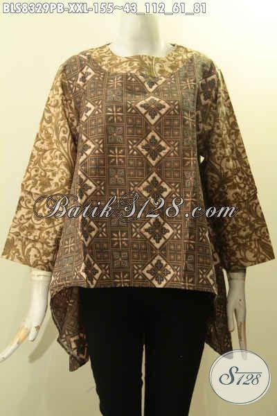 Pakaian Batik Wanita Model Depan Lebih Pendek Dari Belakang, Busana Batik Motif Trendy Proses Printing Cabut Lengan Tumpuk Pakai Kancing Belakang Hanya 100 Ribuan, Size XXL