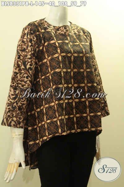 Batik Blus Model Terbaru Dengan Belakang Lebih Panjang Dari Dari Depan, Pakaian Batik Modis Untuk Wanita Tampil Mempesona, Size L