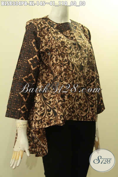 Produk Baju Batik Wanita 2018, Hadir Dengan Model Depan Lebih Pendek Dari Belakang Di Lengkapi Kancing Belakang Dan Lengan Tumpuk Hanya 145 Ribu, Size XL