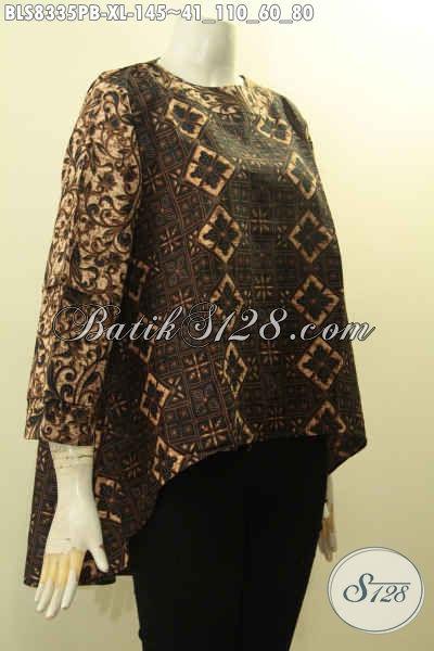Agen Pakaian Batik Solo Terlengkap, Jual Online Batik Blus Halus Bahan Adem Motif Elegan Proses Printing Cabut Hanya 100 Ribuan, Size XL