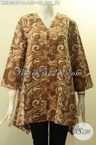 Model Baju Batik Wanita Terbaru, Busana Batik Solo Desain Elegan Dan Mewah Bahan Adem Proses Printing Cabut Untuk Penampilan Cantik Mempesona, Size L