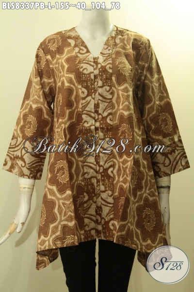 Model Baju Batik Solo Keren Model Kartini, Blus Batik Kancing Depan Kwalitas Bagus Bahan Adem Motif Elegan, Penampilan Rapi Dan Berkelas, Size L
