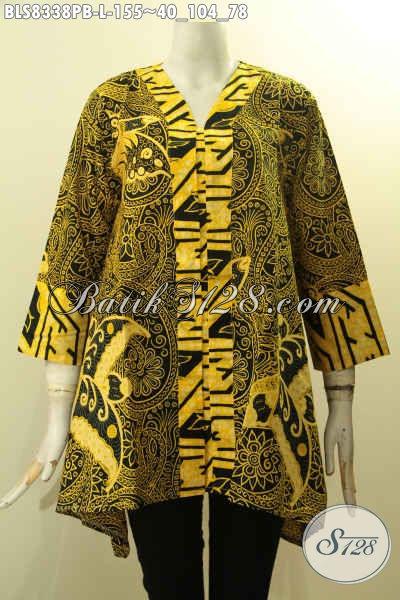 Sedia Busana Batik Solo Terbaru Model Kartini, Blus Batik Wanita Karir Buat Ngantor Penampilan Lebih Gaya Di Lengkapi Kancing Depan Hanya 155 Ribu, Size L