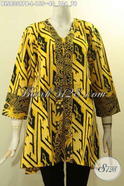 Batik Blus Warna Kuning Model Kartini Bahan Adem Motif Bagus Proses Printing Cabut Untuk Santai Dan Kerja, Size L